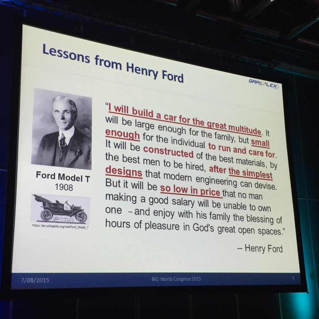 Henry Ford quote at BIO World Congress