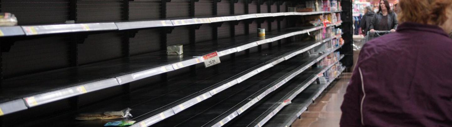 Panic buying has shoppers facing empty store shelves